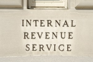 Sign on IRS Building in Washington, DC, United States